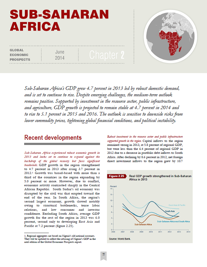 World Bank 2014 Global Economic Prospects: Sub-Saharan Africa