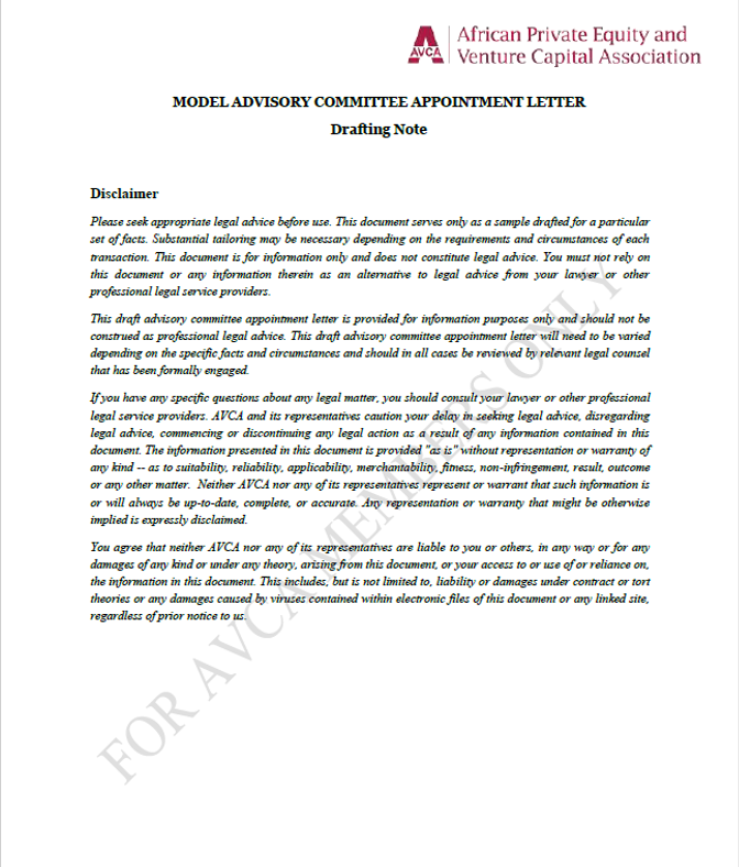 AVCA Model Advisory Committee Appointment Letter Template