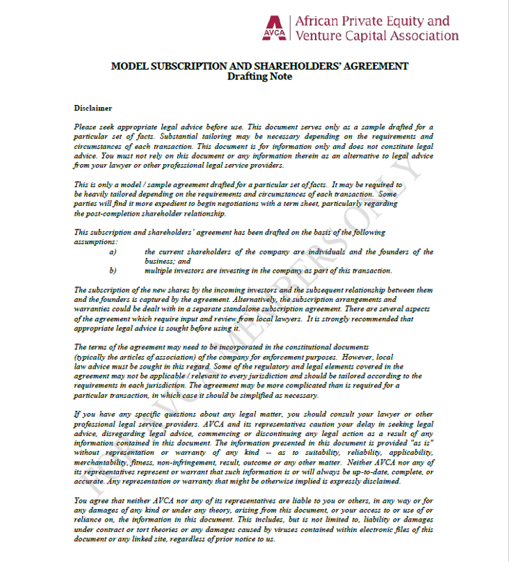 AVCA Subscription and Shareholders Agreement Template
