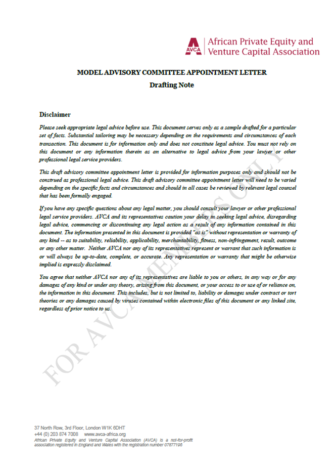 AVCA Model Investment Committee Appointment Letter Template